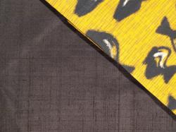 銘仙 黄色地に瓶文 名古屋帯の裏地のアップ