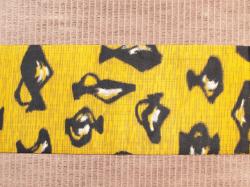 銘仙 黄色地に瓶文 名古屋帯の前の柄