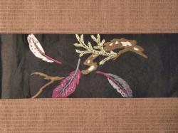 大正アンティーク 黒繻子に手刺繍の鷹柄 名古屋帯の前の柄