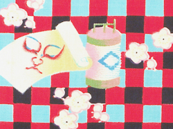 木綿 格子縞に歌舞伎柄 名古屋帯の歌舞伎柄(拡大)