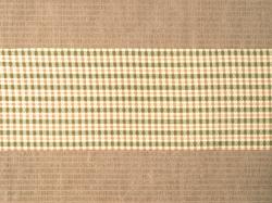 ミャンマー民族布祭礼用ロンジー 格子縞に絣文様(金) 名古屋帯の前の柄