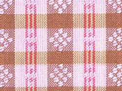 ミャンマー民族布祭礼用ロンジー 格子縞に絣文様(桜) 名古屋帯の絣文様(拡大)