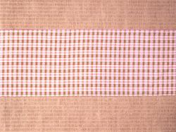 ミャンマー民族布祭礼用ロンジー 格子縞に絣文様(桜) 名古屋帯の前の柄