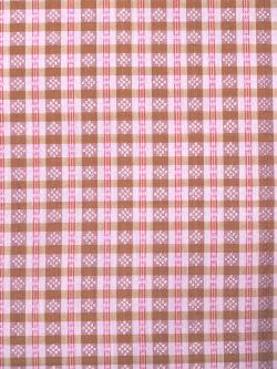 ミャンマー民族布祭礼用ロンジー 格子縞に絣文様(桜) 名古屋帯の生地の拡大
