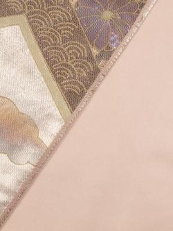 螺鈿箔 菊梅柏に宝尽くし文 袋帯の裏地のアップ
