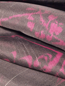 アンティーク 紗 銀通しに地紙文 小紋 単衣の生地アップ
