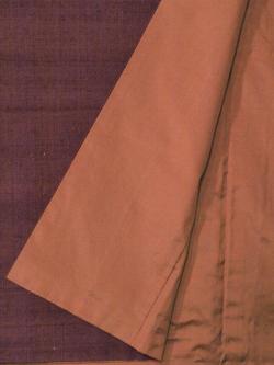 紬 真綿手紡ぎ糸 無地濃淡焦げ赤茶袷の八掛け部分アップ