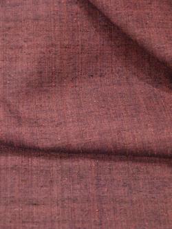 紬 真綿手紡ぎ糸 無地濃淡焦げ赤茶袷の生地アップ