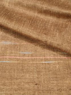 紬 真綿手紡ぎ糸 桑染地横絣文様袷の生地アップ
