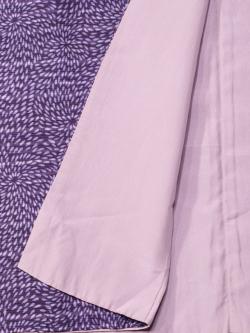 紬 横縞に菊文 江戸紫地袷の八掛け部分アップ